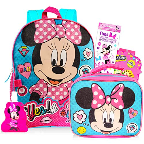 Disney Minnie Mouse Backpack and Lunch Bag for Girls 5 Pc Bundle ~ Deluxe 16' Minnie School Bag, Lunch Box, Water Bottle, Stickers, and More (Minnie Mouse School Supplies) (Minnie Mouse Backpack)