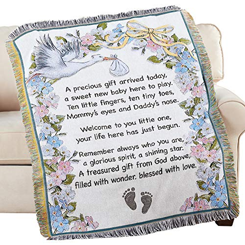 Collections Etc Welcome New Baby Tapestry Throw Blanket Standard