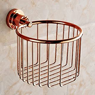 ZZLX 紙タオルホルダー、完全な銅ヨーロッパのアンティークローズゴールドとゴールドのバスタオルラックのロールホルダー ロングハンドル風呂ブラシ (色 : ローズゴールド ろ゜ずご゜るど)
