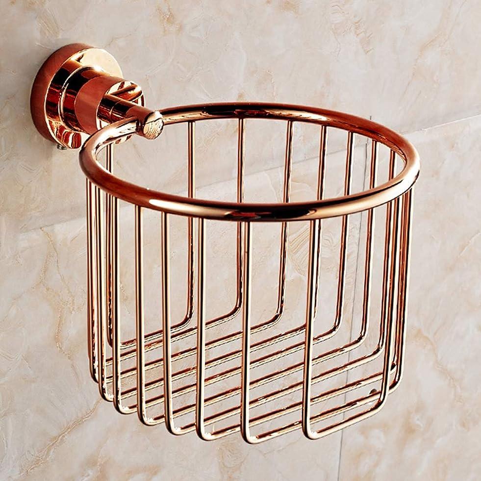 宿受付温度ZZLX 紙タオルホルダー、完全な銅ヨーロッパのアンティークローズゴールドとゴールドのバスタオルラックのロールホルダー ロングハンドル風呂ブラシ (色 : ローズゴールド ろ゜ずご゜るど)