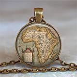 Colgante de mapa de África antiguo, colgante de mapa de África, colgante de mapa de...