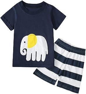 🌸Hot!!Toddler Kids Boys Cartoon Print T-shirt Tops+Shorts Pajamas Outfits MS-SM Infant Baby Cute Fashion Short Sleeve O-n...