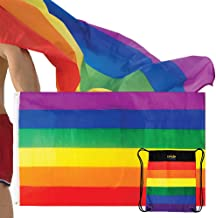 The Pride Side Gay Pride Flag Set 3x5 Feet Hangable & Wearable As A Cape Rainbow LGBT Colors Homosexual Lesbian Outdoor Banner. Extra-Durable with Brass Grommets + Travel String Bag