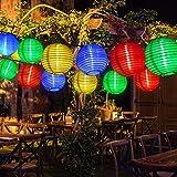 Lampions Lichterkette Solar Außen, 5M RGB Bunt kette mit 20er LED Laternen Solarbetrieben...