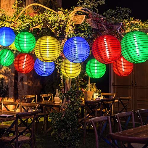 Solar Lichterkette Lampions Außen, 5M Bunt Weiss kette mit 20er LED Laternen Solarbetrieben Lichterkette für Garten, Terrasse, Balkon, Weihnachten, Hochzeit, Camping, Feiern und Partybeleuchtung