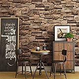 Pierre rustique vintage, rouleau de papier peint de brique salon chambre fond de restaurant loft 3d papier peint, kaki