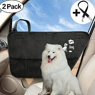 Big Hippo Pet Car Door Cover + Bonus Dog Car Seat Belt - Waterproof Car Interior Door Protector Cover Guard Cars/Trucks/SUV Back Door Protection Pets Scratch Drooling Nails (2 Pack)