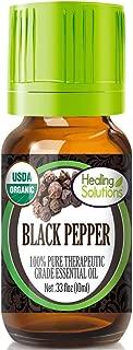 Organic Black Pepper Essential Oil (100% Pure - USDA Certified Organic) Best Therapeutic Grade Essential Oil - 10ml