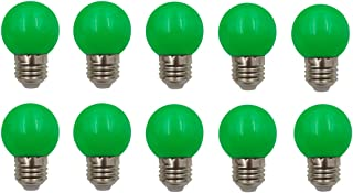 JCKing (Pack of 10) E26 Screw Cap Base Golfball Lamps Coloured Light Bulbs for Patio Party Christmas - Green