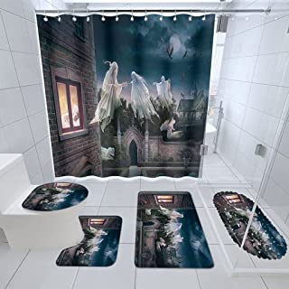 Bathroom Mat,Doormat Non-Slip Mat, Shower Curtain Set 5 Pieces Absorbent Non-Slip Bath Mat Toilet Rug Bath Rug for Bathroo...