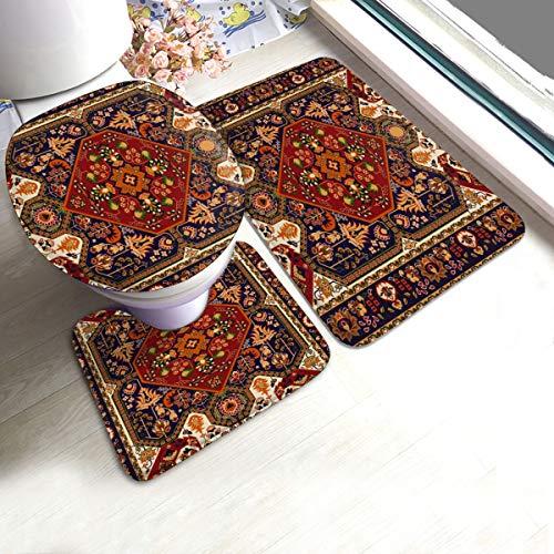Perzisch tapijt Tribal Vector Textuur U-Shaped Toilet 3 Stuk Badmat Set Badkamer tapijten Tapijt Matten Antislip Voor Indoor Contour Tapijt Aangepast