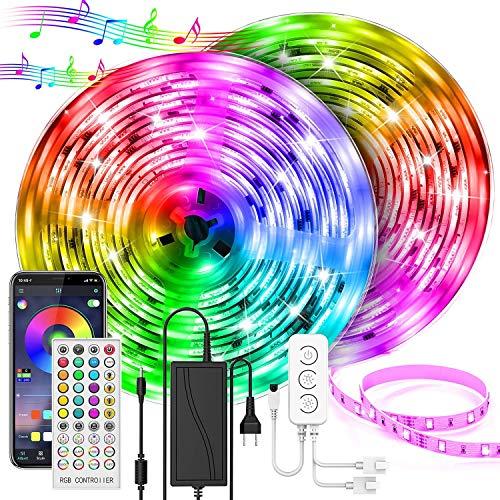 UALAU Ruban LED, 20M Bande de lumières LED ultra-longue led lights 5050 RGB Contrôlé par APP, Synchroniser avec Rythme de Musique, pour la décoration de chambre, cuisine, et décoration de fête