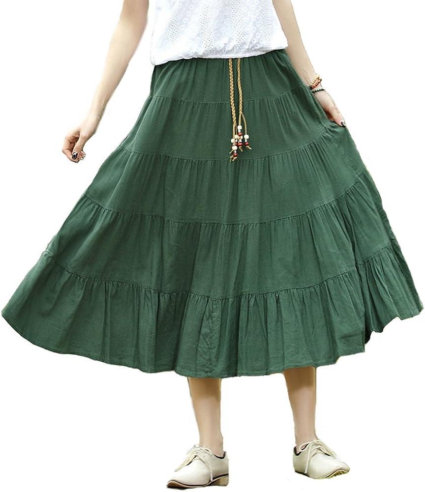 MINGXINTECH Womens Flax Maxi A-Line Falbala Skirt Hem Desi Tiers Large-scale sale Topics on TV