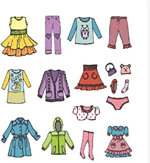 Tomaibaby 1 Sheet Girl Clothing Decals, Removable Clothes Dress Classification Label Stickers for Wardrobe or Drawer Organ...
