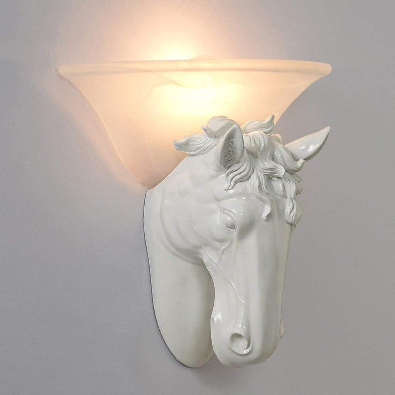 JU Europischen Stil Pferd Kopf Lampe Moderne Persnlichkeit Hotel Gang Treppen Schlafzimmer Nachttischlampe Amerikanische Beleuchtung