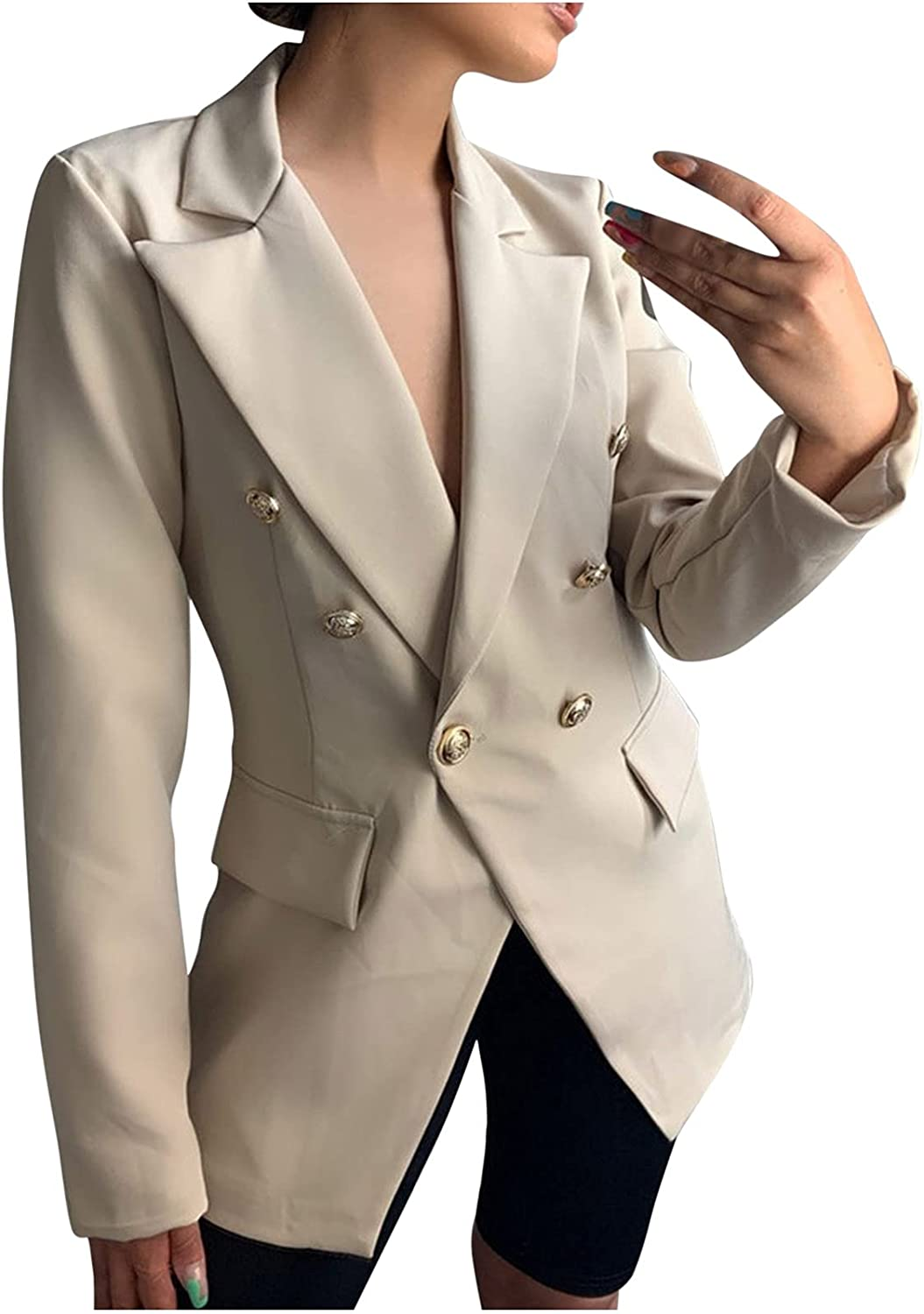 Women's Suit Blazers Fitted Long Sleeve Work Casual Solid Color Double Breasted Jakcet Dressy Pocket Notched Tunic Top