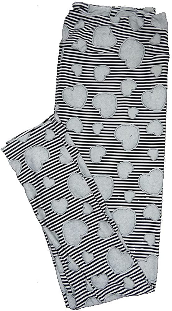 Lularoe One Size OS Black Gray Stripe Valentines Buttery Soft Leggings - OS fits Adults 2-10