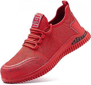gojiang Säkerhetsskor Herr och Dam Arbetsskor Lätta Bekväma Sneakers Sportiga Andningsbara Skyddskor Stålmössa Skor35-48EU