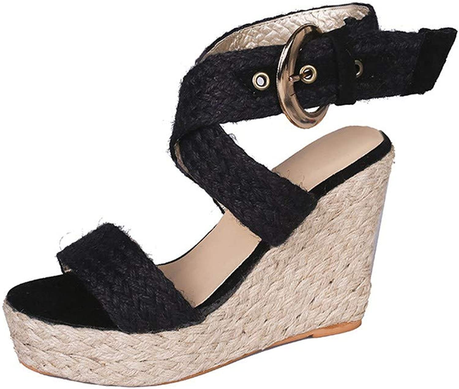 Colourtouch Womens Strappy Espadrille Platform Wedge Sandals Open Toe Slingback Mid Heel Summer Sandals Pink
