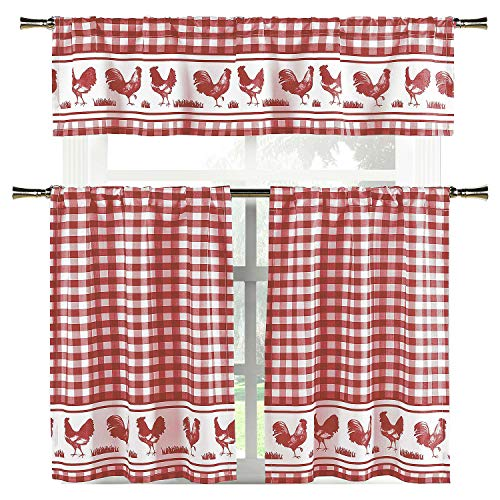 Elegant Linens Country Home Plaid Buffalo Check Gingham Farmhouse Rooster Kitchen Curtain Tier & Valance Set - Assorted Colors (Burgundy)
