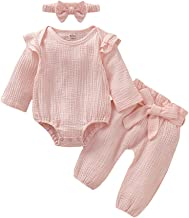 Infant Baby Girl Clothes Ruffle Long Sleeve Bodysuit Tops Linen Solid Pants with Headband 3PCS Toddler Girl Outfit Set