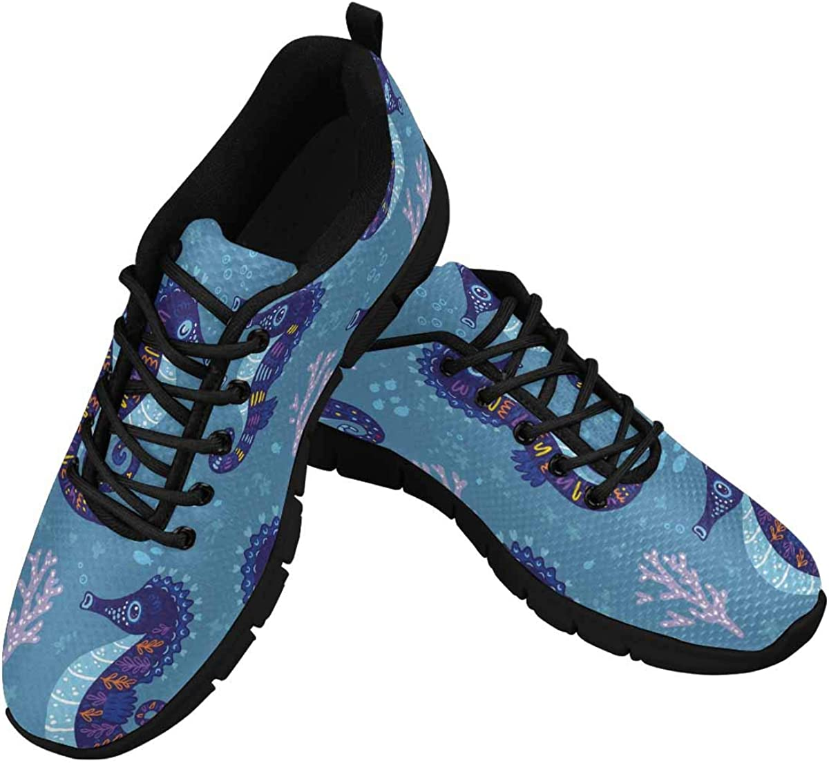 INTERESTPRINT Seahorses Pattern Women's Lightweight Athletic Casual Gym Sneakers