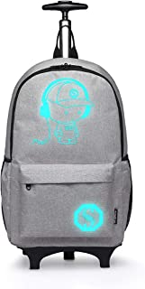 Anime Cartoon Luminous música Boy Backpack Escuela Estudiante Mochila de Moda, Mochila Escolar Unisex Bookbag Maleta De Viaje Trolley Ordenador Mochila (Gris)