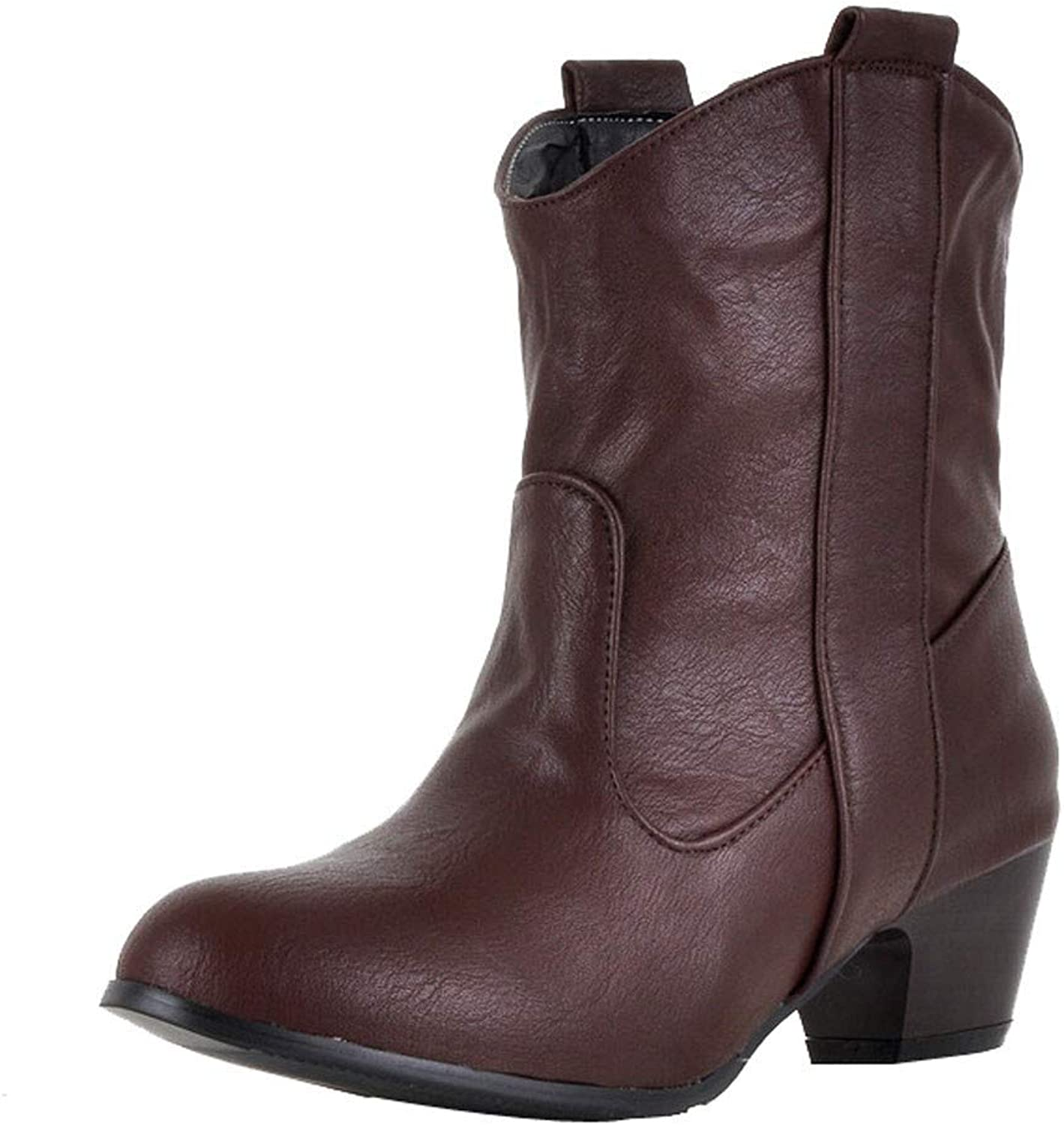 A-LING Women High Heel shoes Leather Boots Thick Ankle Boots
