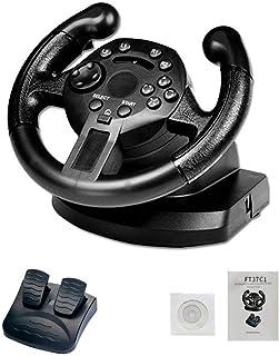 Racing Wheel PS3/PC(D-INPUT/X-INPUT) 対応 レーシングホイール ステアリングホイール ゲームコントローラ ゲームパッド