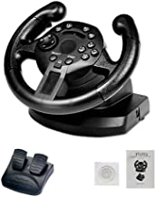 Younar Racing Game Steering Wheel with Responsive Pedals Simulation Racing Wheel Dual-Motor Feedback Driving Force Racing Wheel for PS3/PC