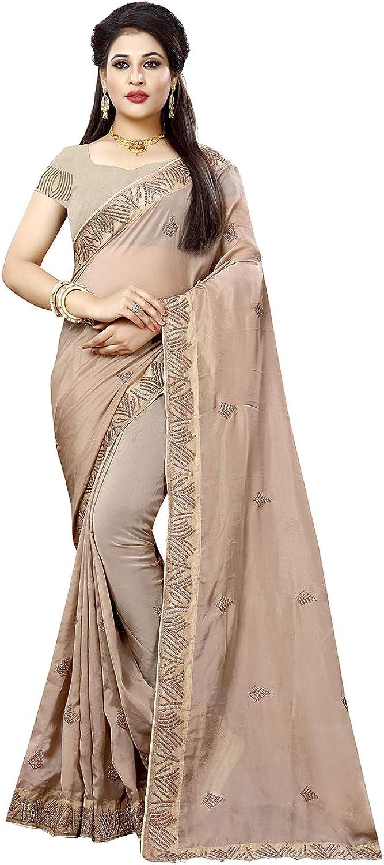 Da Facioun Indian Sarees for Women Designer Party Wear Traditional Beige Sari.