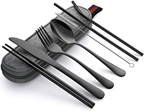 Travel Cutlery Set   Portable Camping Utensils Set Including Knife Fork Spoons Straws Chopsticks Cleaning Brush, Reusable ...