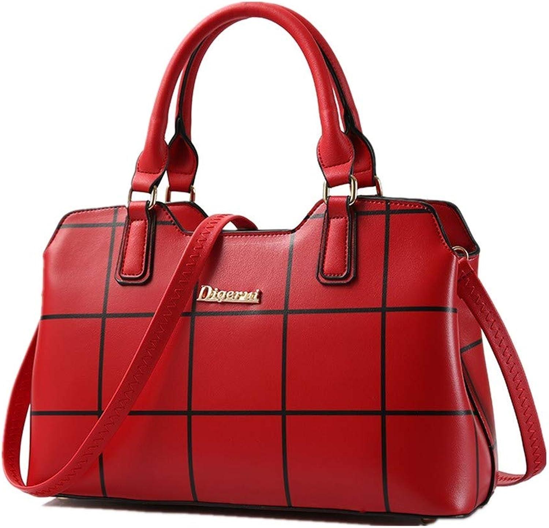 NZZNB Women's Bag Fashion Designer Handbag Plaid Elegant Shoulder Bag Simple Classic Satchel Tote Purse Top-Handle Handbags