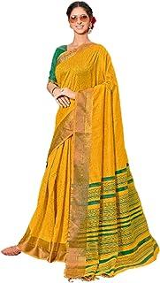 تصميم أصفر للنساء هندي نمط بوليوود عصري أنيق ومظهر غني من القطن ساري مع بلوزة مطابقة قطعة 6079