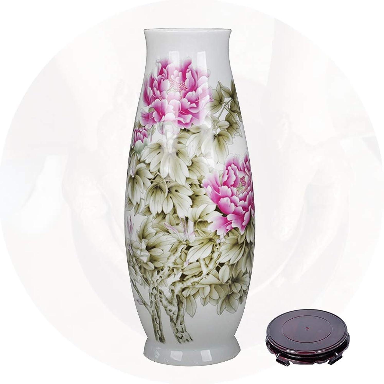 パートナー運動矢じり陶磁器の花瓶 XJJUN ヴィンテージ中国風手作りフラワーアレンジメントホームデコレーションリビングルームホテルアートワークの理想的なギフト、2色 (Color : B, Size : 46x14cm)
