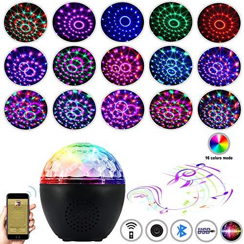 Anpro 16 Colores Luces Discoteca con Altavoz Bluetooth,Bola LED de Discoteca de USB,Controlada por Control Remoto,Disco Luz USB para Cumpleaños, Coche,Fiesta, Bar, Navidad, Boda