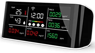 MRG 二酸化炭素濃度計 測定器 計測器 検出器 日本語説明書付き センサー co2 蔓延防止法 モニター チェッカー 二酸化炭素 PM2.5 ホルムアルデヒド 有機化合物 温度 湿度 時計 充電式 (ブラック×ホワイト)