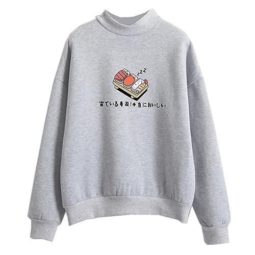 ce3c5a42cd78 Harajuku Pastel Sweater Japanese Sushi Cartoon Tumblr Shirts for Teen Girls