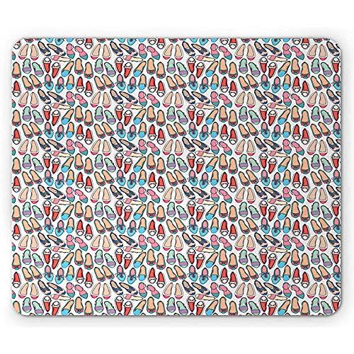 Fashion Mouse Pad, kleurrijke damesschoenen in verschillende stijlen, klassieke en sportieve ballerina's print, multicolor