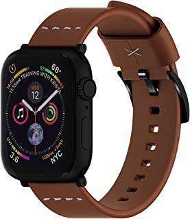 ARTCHE Genuine Leather Replacement Watch Strap Compatible with Apple Watch 42mm, 44mm Men Woman Smart Watch Sport Waterproof Wristband for iWatch Series 5/4 / 3/2 / 1 - Light Brown
