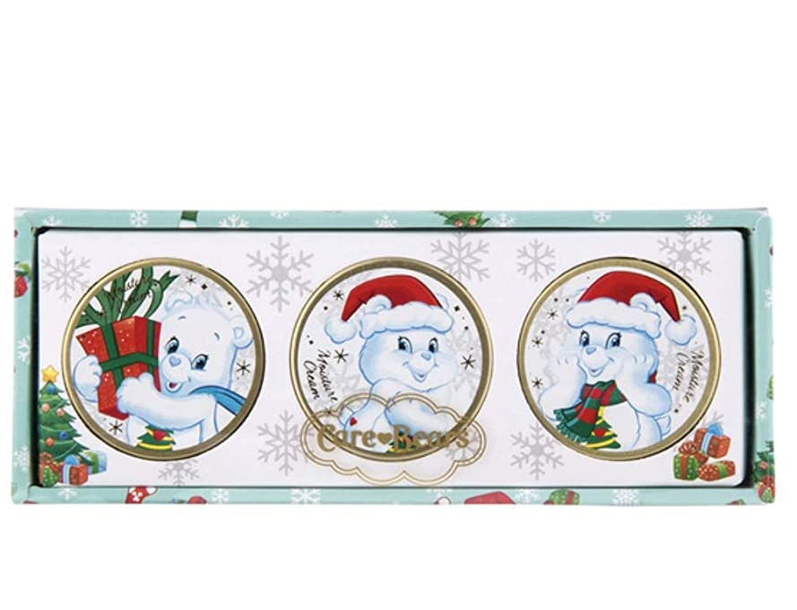 文庫本帽子規模Care Bears ケアベア モイスチャークリーム クリスマスウィッシュベア3個セット