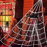 LQKYWNA Tela De Araña De Halloween, Telaraña Gigante De Telaraña Falsa, Decoración De Halloween con Decoración De Araña De Gran Tamaño Realista Y Aterradora (Tela De Araña De 20 G)