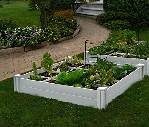 Vita Gardens VT17104 Vita Bed with GRO 48in x 7.5in Garden with Grid, 7.38' H, White