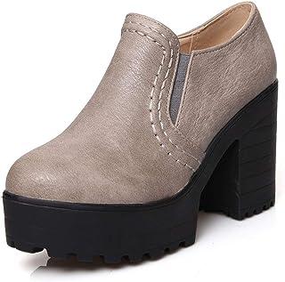 4dc7d078 Tacones de Plataforma de Deslizamiento en Tacones Altos Botas para Mujeres  Zapatos de tacón Cuadrado Cuero