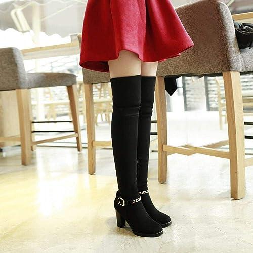 ZHRUI botas para mujer - zapatos Western Trend para mujer Hilo de tacón Alto Sobre Las botas para la Rodilla botas de Invierno 36-43 (Color   negro, tamaño   42)