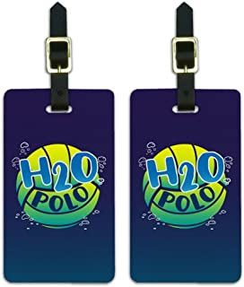 Water Polo Ball H2O Luggage ID Tags Suitcase Carry-On Cards - Set of 2