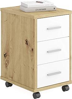FMD furniture Caisson de Bureau, Bois d'ingénierie, Chêne Artisan/Blanc Brillant, ca. 35 x 53,6 x 42 cm