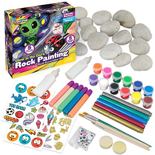 Glow In The Dark Rock Painting Arts and Craft Kit for Kids – Supplies For Painting Rocks - 20 Regular & Resin Rocks, Acrylic Markers - Rock Decorating Supplies Gift For Boys & Girls Ages 6 7 8 9 10 11