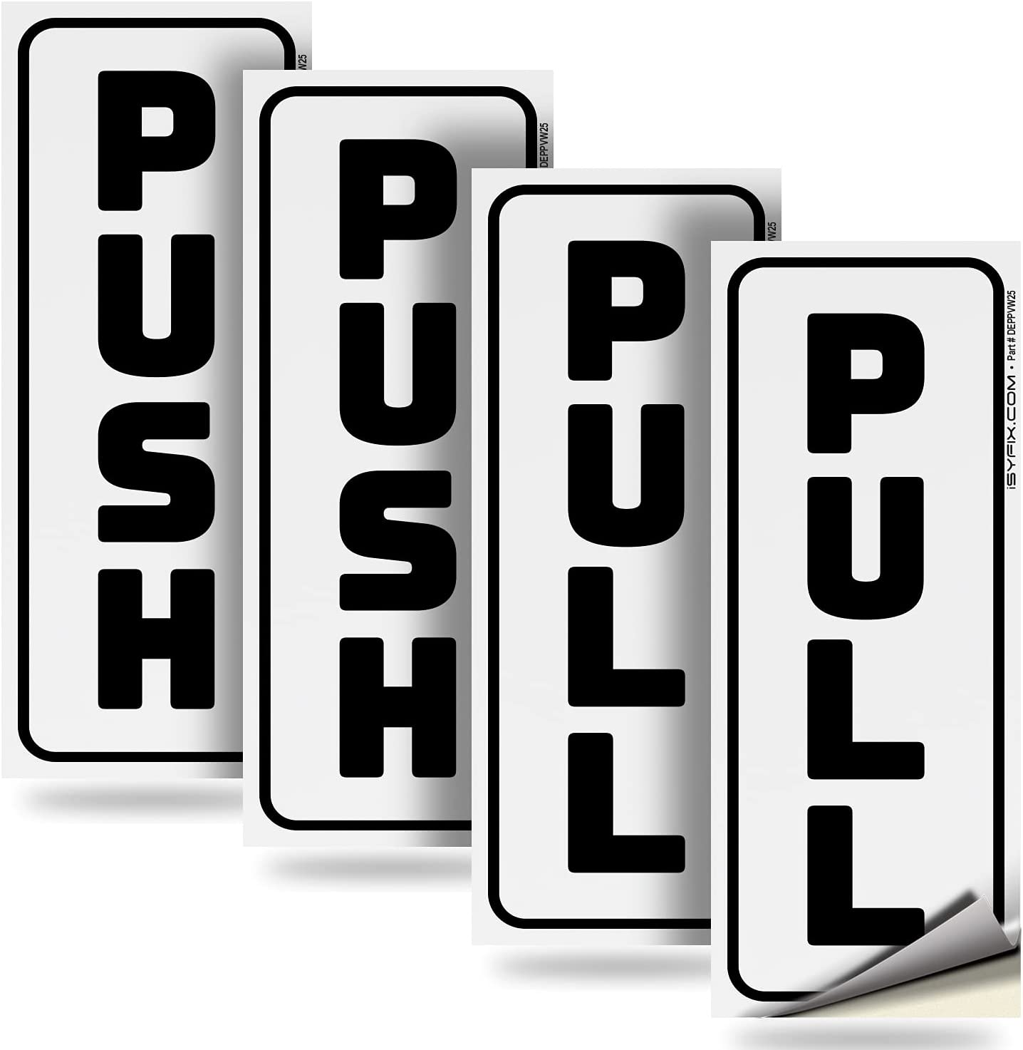 """Push Pull Door Vertical Stickers Sign – 2 pack 2""""x5"""" in, Back Self-Adhesive White & Black Vinyl Sticker for Business, Stores, Cafes, Shops & More. Indoor and Outdoor use. : Office Products"""