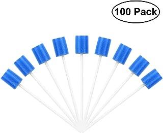 100 varillas de cuidado bucal, bastoncillos de algodón desechables, esponja, higiene bucal, cuidado bucal, torunda, limpieza dental, esponja (azul)